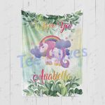 Personalized Gift For Kids Custom Name Unicorn Floral Blanket 4