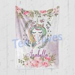 Personalized Gift For Kids Custom Name Unicorn Floral Blanket 6