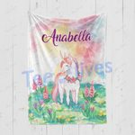 Personalized Gift For Kids Custom Name Unicorn Floral Blanket 7