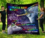 Personalized Gift For Daughter Custom Blanket Unicorn From Mom To My Daughter - Quilt Blanket