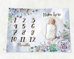Personalized Baby Blanket Newborn Photo Floral Custom Baby Blanket 45