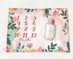 Personalized Baby Blanket Newborn Photo Floral Custom Baby Blanket 71