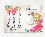 Personalized Baby Blanket Newborn Photo Floral Custom Baby Blanket 101