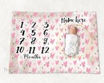Personalized Baby Blanket Newborn Photo Floral Custom Baby Blanket 298