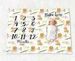 Personalized Baby Blanket Newborn Photo Floral Custom Baby Blanket 308