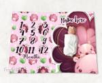 Personalized Baby Blanket Newborn Photo Floral Custom Baby Blanket 322