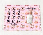 Personalized Baby Blanket Newborn Photo Floral Custom Baby Blanket 325