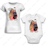 Personalized Combo Women's T-Shirt + Onesie Mom And Baby - Gift For Mother Day - Premium Women's T-shirt + Onesie