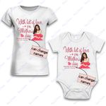 Personalized Combo Women's T-Shirt + Onesie With Lot Of Love 1  - Gift For Mother Day - Premium Women's T-shirt + Onesie