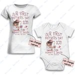 Personalized Combo Women's T-Shirt + Onesie Our First Mother's Day 2021 - Gift For Mother Day 1 - Premium Women's T-shirt + Onesie