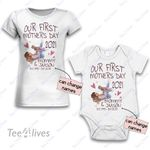 Personalized Combo Women's T-Shirt + Onesie Our First Mother's Day 2021 - Gift For Mother Day 3 - Premium Women's T-shirt + Onesie
