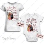 Personalized Combo Women's T-Shirt + Onesie Our First Mother's Day 2021 - Gift For Mother Day 4 - Premium Women's T-shirt + Onesie