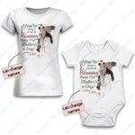 Personalized Combo Women's T-Shirt + Onesie Happy First Mother's Day 3 - Gift For Mother Day - Premium Women's T-shirt + Onesie