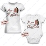 Personalized Combo Women's T-Shirt + Onesie Mom And Baby 1 - Gift For Mother Day - Premium Women's T-shirt + Onesie