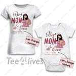 Personalized Combo Women's T-Shirt + Onesie Best Mom Ever 2 - Gift For Mother Day - Premium Women's T-shirt + Onesie