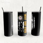 Personalized Father's Day Gift Custom Tumbler Dad And Son United State Veteran - Custom Travel Mug