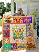 A Little Hippie A Little Hood Quilt Blanket Great Customized Gifts For Birthday Christmas Thanksgiving Perfect Gifts For Hippie