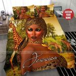 African Sexy Black Women In Wildlife Custom Duvet Cover Bedding Set With Name