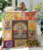 A Hippie Girl With Her Animals Quilt Blanket Great Customized Gifts For Birthday Christmas Thanksgiving Perfect Gifts For Hippie