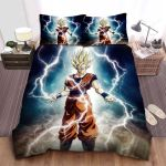 Dragon Ball Goku In Super Saiyan 2 Surrounded By Lightnings Bed Sheets Spread Comforter Duvet Cover Bedding Sets