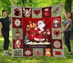 Merry Christmas Bull Terrier Wearing Santa Claus's Clothes Quilt Blanket Great Customized Blanket Gifts For Birthday Christmas Thanksgiving