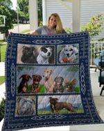 Staffordshire Bull Terrier Blue Frame Quilt Blanket Great Customized Blanket Gifts For Birthday Christmas Thanksgiving