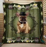 French Bulldog Wearing Noble Hat And Bow Quilt Blanket Great Customized Blanket Gifts For Birthday Christmas Thanksgiving