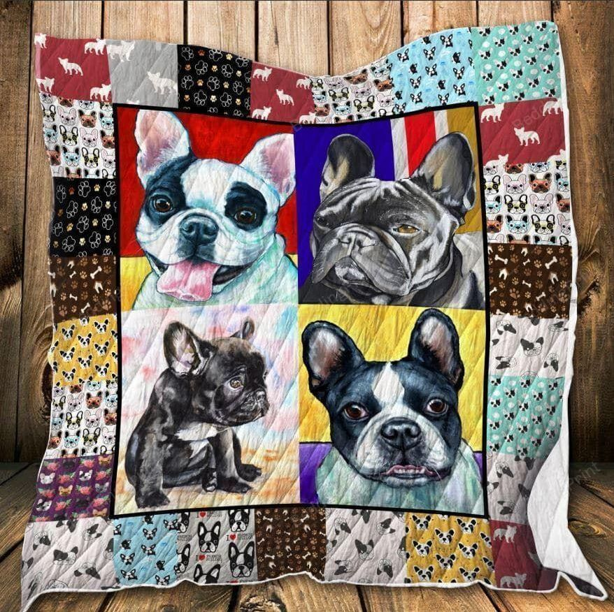 French Bulldog Meet My Friends Awesome Quilt Blanket Great Customized Blanket Gifts For Birthday Christmas Thanksgiving
