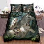 Princess Mononoke & Her Pack Of Wovles In The Forest Artwork Bed Sheets Spread Comforter Duvet Cover Bedding Sets