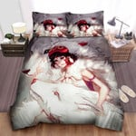 Princess Mononoke & White Divine Wolves Illustration Bed Sheets Spread Comforter Duvet Cover Bedding Sets