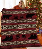 Black Bear Paws Pattern Quilt Blanket Great Customized Blanket Gifts For Birthday Christmas Thanksgiving