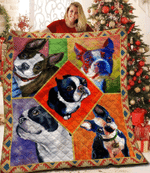 Cool Boston Terrier Colorful Boston Terrier Square Art Boston Terrier Look Up Quilt Blanket Great Customized Blanket Gifts For Birthday Christmas Thanksgiving