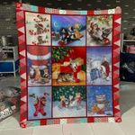Merry Christ Mas Cats Go Skiing On Candy Bars Quilt Blanket Great Customized Blanket Gifts For Birthday Christmas Thanksgiving