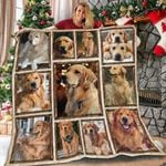 Golden Retriever Dog Cute Face Stick Out Tongue Quilt Blanket Great Customized Blanket Gifts For Birthday Christmas Thanksgiving