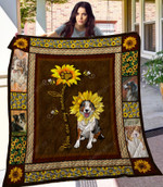 Sunflower And Australian Shepherd Dog Drawing You Are My Sunshine Quilt Blanket Great Customized Gifts For Birthday Christmas Thanksgiving Anniversary
