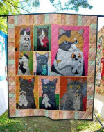 Cats Holding Small Their Dolls  Quilt Blanket Great Customized Gifts For Birthday Christmas Thanksgiving Perfect Gifts For Cat Lover
