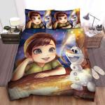 Disney Frozen Anna & Olaf Digital Art Bed Sheets Spread Comforter Duvet Cover Bedding Sets