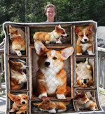 Cute Corgi Butt Innocent Face Quilt Blanket Great Customized Blanket Gifts For Birthday Christmas Thanksgiving Anniversary