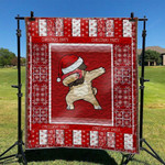 Pug Dog Drawing Dab Red White Background Christmas Quilt Blanket Great Customized Blanket Gifts For Birthday Christmas Thanksgiving Anniversary