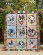 Boston Terrier Wearing A Medal And A  Flower Crown Quilt Blanket Great Customized Gifts For Birthday Christmas Thanksgiving