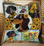 Dachshund Dog Drawing Sun Flower You Are My Sunshine Quilt Blanket Great Customized Gifts For Birthday Christmas Thanksgiving