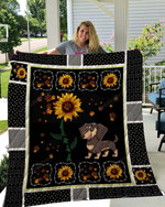 Dachshund Dog Standing Drawing Sun Flower Pawn You Are My Sunshine Quilt Blanket Great Customized Gifts For Birthday Christmas Thanksgiving