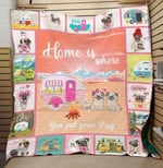 Pug Dogs Home Is Where You Put Your Pug Quilt Blanket Great Customized Blanket Gifts For Birthday Christmas Thanksgiving