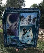 Wolf Howling White Wolf With Scar Quilt Blanket Great Customized Blanket Gifts For Birthday Christmas Thanksgiving