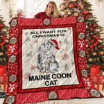 Cat All I Want For Christmas Is Maine Coon Cat Quilt Blanket Great Customized Blanket Gifts For Birthday Christmas Thanksgiving
