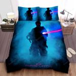 The Terminator Shadow In Blue Smoke With Red Eyes And Riffle Bed Sheets Spread Comforter Duvet Cover Bedding Sets