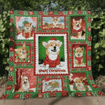 Corgi Wearing Christmas Hat Merry Christmas Quilt Blanket Great Customized Blanket Gifts For Birthday Christmas Thanksgiving