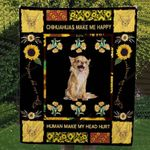 Chihuahua Dogs Chihuahua Make Me Happy Chihuahua And Sunflowers Quilt Blanket Great Customized Blanket Gifts For Birthday Christmas Thanksgiving