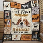 Beagle Dogs First Thing I See Every Morning Is A Beagle Who Loves Me Quilt Blanket Great Customized Blanket Gifts For Birthday Christmas Thanksgiving Anniversary