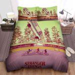 Stranger Things Hawkins Kids And Flying Vans Illustration Bed Sheets Spread Comforter Duvet Cover Bedding Sets